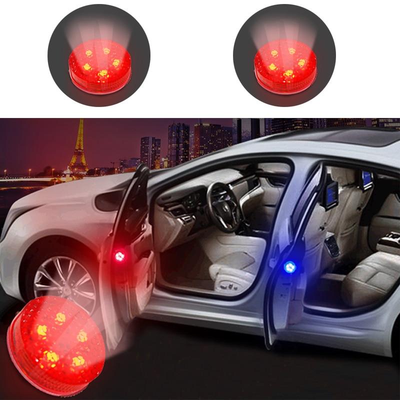 2pcs Wireless Car Door LED Opened Warning Flash Lights Anti-collision Blue
