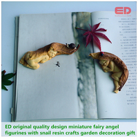 2pcs Set ED Original Quality Design Miniature Fairy Angel Figurines With Snail Simulation Resin Crafts Garden
