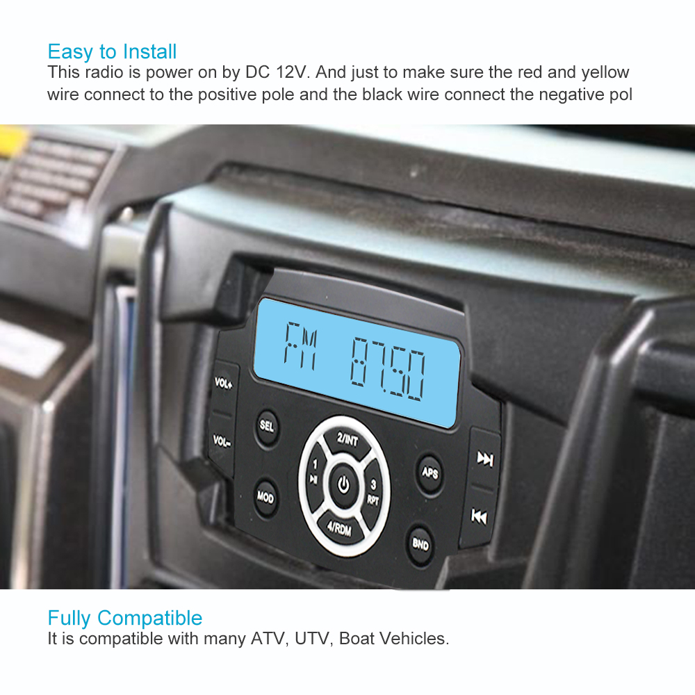 Waterproof Car Mp3 Radio Fm Am Bluetooth Music Stereo 65marine Speaker Wiring Positive Negative Boat Speakers For Marine Antenna In Radios From
