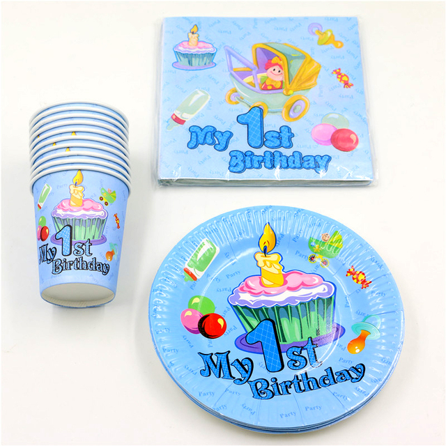 60pcslot Baby Shower Happy Decoration Boy Girl Paper Plates 1st Birthday Party Cups Kids