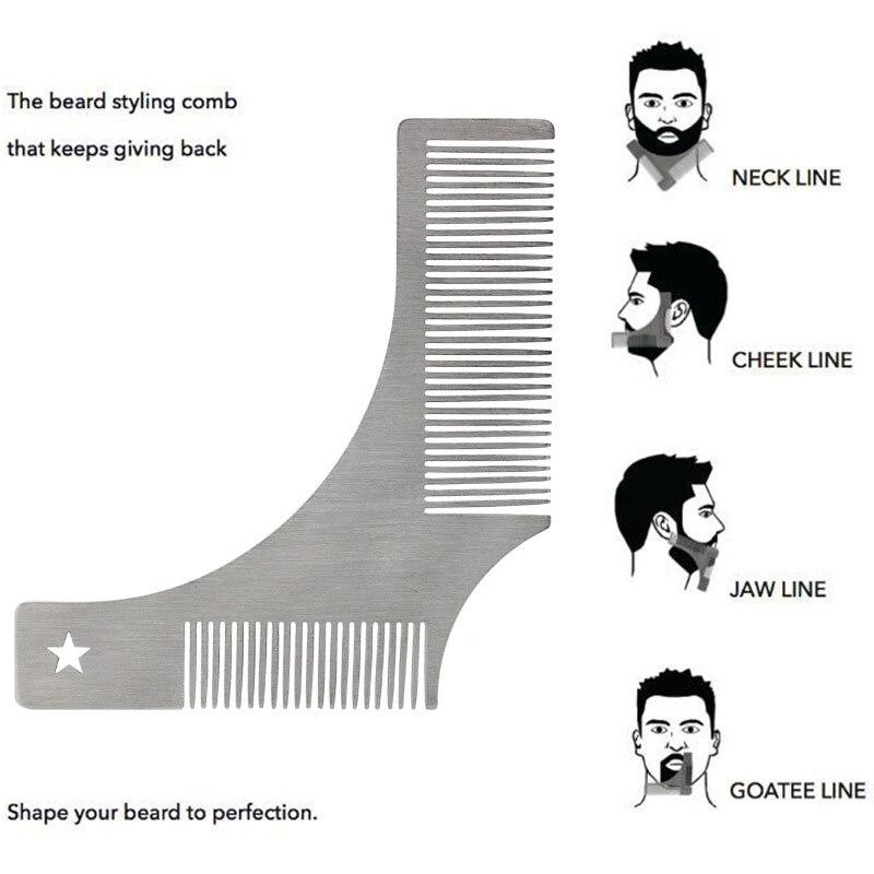 Dropship Stainless Steel Beard Shaping Comb Beard Shaping Tool Beard Modeling Template Carding Tool Beard Comb