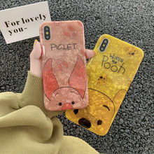 Cartoon Cute Pooh bear pink pig shiny shell pattern silicone soft cover case for iphone MAX XS XR 6 7 8 plus X phone cases