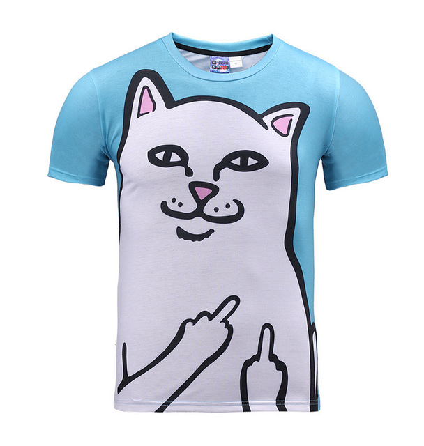 Cuhk child white cat printed 3D t-shirt for boys and girls summer style  teens t shirt big kids casual tops edd5ee75d895