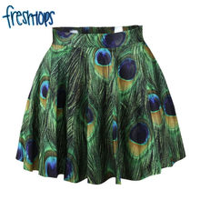 X-257 2017 Beautiful Peacock Feather Pattern Women Summer Skrit High Waist Saia Lolita Skirts(China)