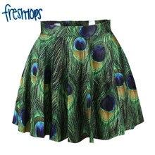 X 257 2017 Beautiful Peacock Feather Pattern Women Summer Skrit High Waist Saia Lolita Skirts
