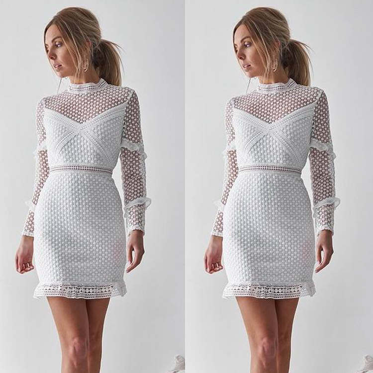 Sale 2018 spring and autumn slim pencil lace woman dresses hot hollow out solid stand empire mini lace female dresses