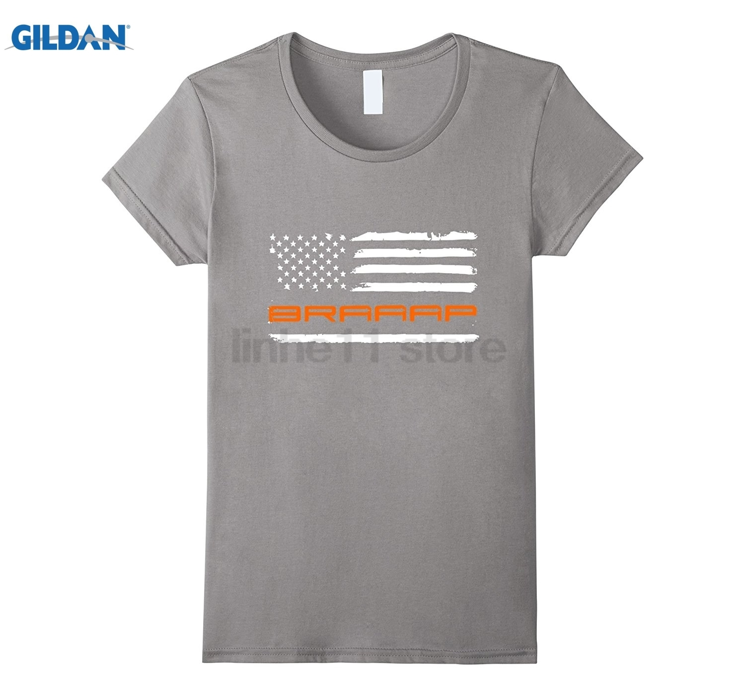 GILDAN Braaap - Motocross, Dirt , Motorcycle, Flag Blaze Orange Womens T-shirt