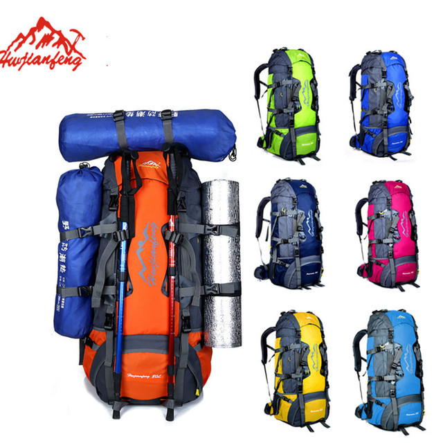 bas prix b7f6d 7ab95 HUWAIJIANFENG 80L grand sac à dos extérieur Camping de voyage professionnel  randonnée unisexe sacs sport escalade