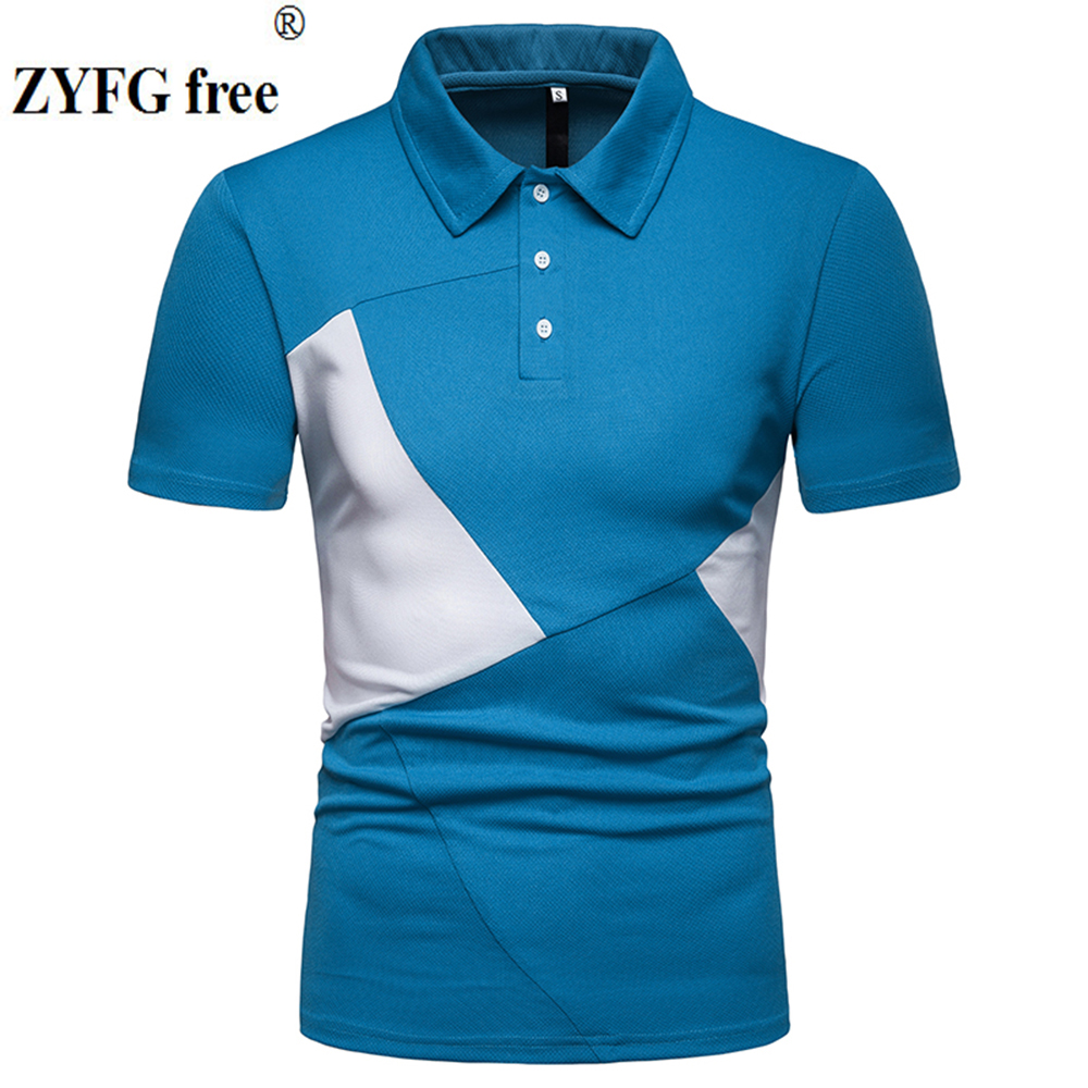 Image 3 - ZYFG free men polo casual splice contrast color short sleeved polo shirt Slim fashion spring and summer male clothing-in Polo from Men's Clothing