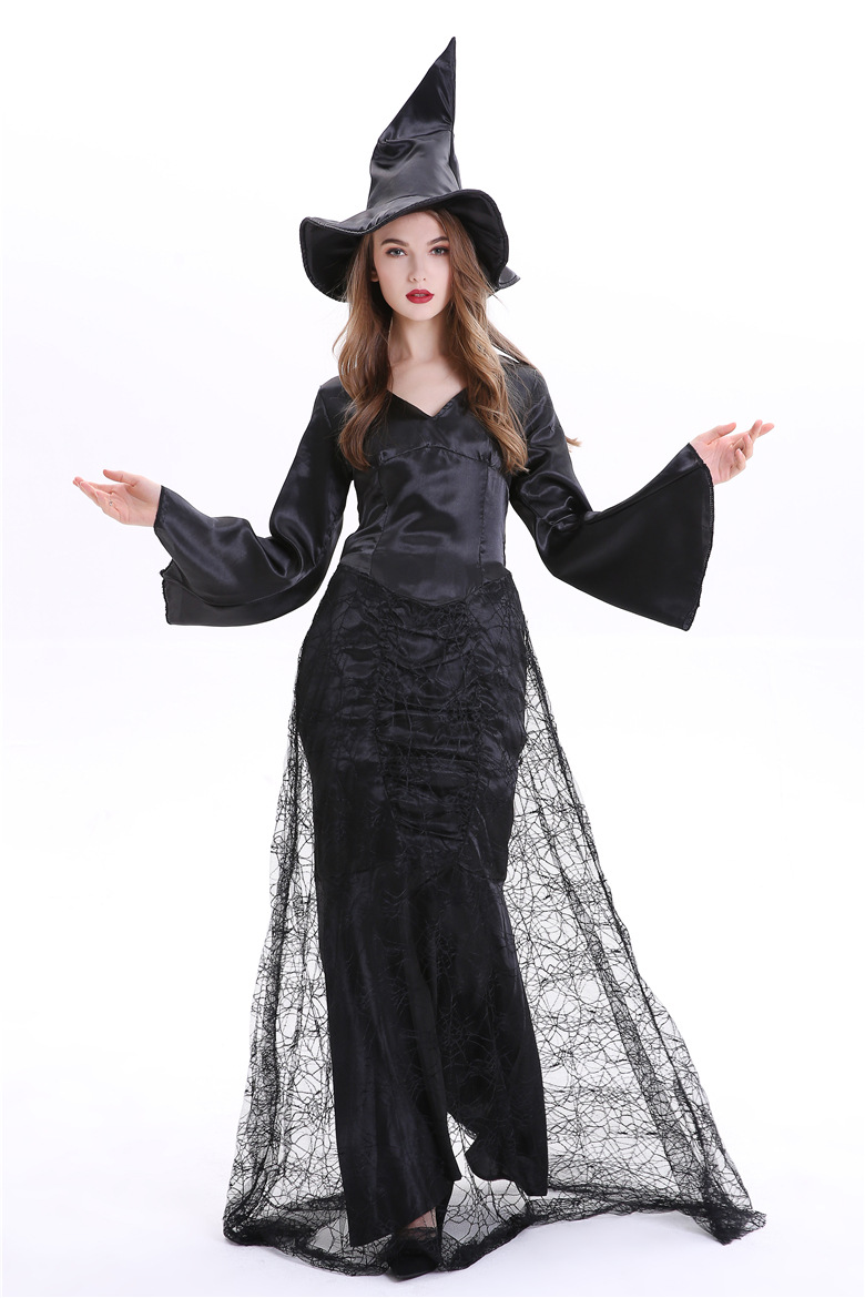 Halloween Solid Black Dress Women Cosplay Casual Long Bell Sleeve V Neck Mesh Patchwork Witch Role Play Women Dress With Cap