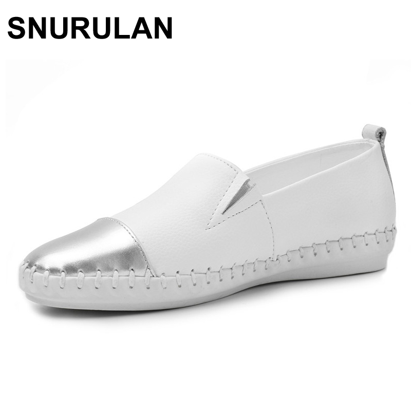 SNURULAN Women Espadrilles flats casual shoes leather slip on ballet ladies moccasins Breathable White Black Female loafers shoe ladies beautiful flats shoes black female large size casual fur glitter women slip on comfy 10 winter bling drop shipping latest