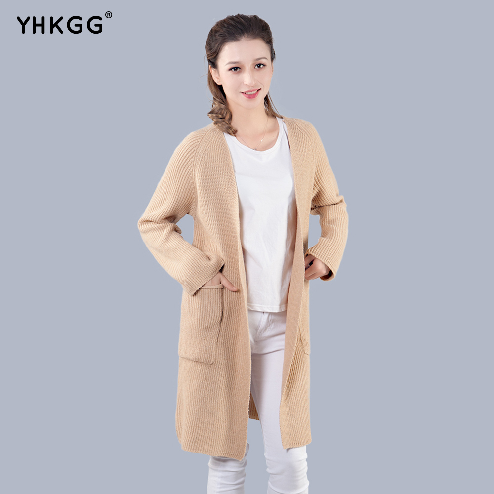 YHKGG 2017 New Women Autumn Knitted Cardigan Slim Pocket Loose Solid Colors Knit Sweater ...