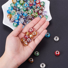 20pcs 925 Silver Color Cut Faceted Large Hole Glass Beads Fit European Bracelet Spacer Pandora Charm Bangle for Jewelry Making 10pcs hot cut faceted color crystal glass beads fit european bracelet spacer original pandora charm bracelet for jewelry making