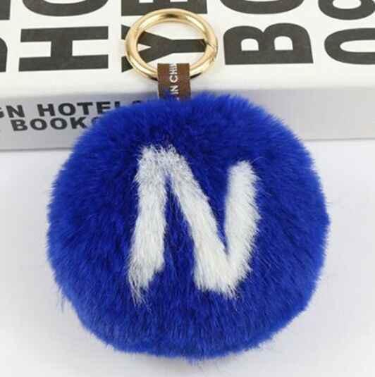Fluffy Faux pompons De Pele de Coelho Inverno N carta bola Peluda Para Chave anel Chave de cadeia e Sacos de Roupas Acessórios 10 cm