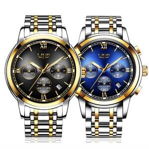 Image 5 - Montre Homme zegarek mężczyźni luksusowa marka LIGE Chronograph mężczyźni Sport zegarek wodoodporny pełna stal kwarcowy mężczyźni zegarki Relogio Masculino