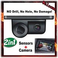 New 2 In 1 LED Sound Alarm Car Reverse Backup Video Parking Sensor Radar System With