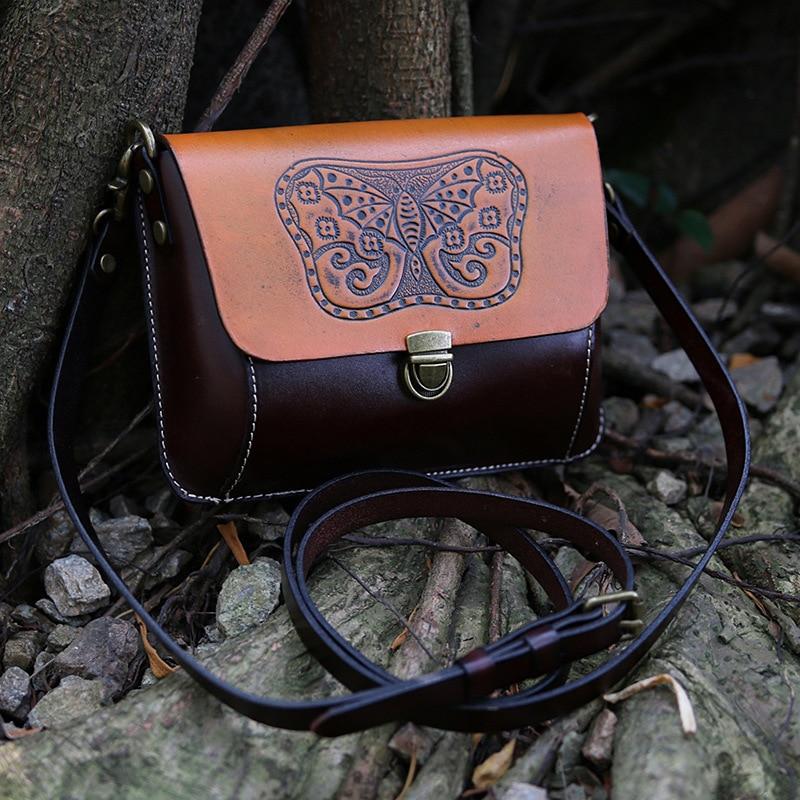Echte Natürliche Leder Frauen Einzigen Schulter Tasche Schwarz/Braun Mini Weibliche Casual Geprägt Schmetterling Messenger Tasche - 2