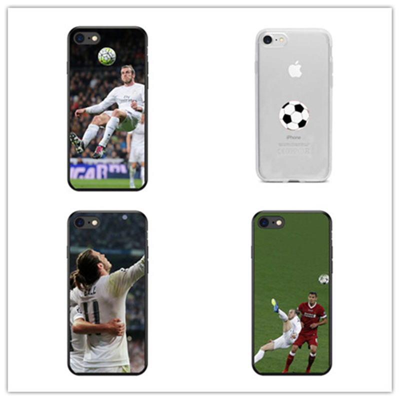 KULIAI The Real Madrid star BALE flew upside down Pattern soft black TPU Phone Cases For iphone 4 4S 5 5S 6 6S 7 8 PLUS X