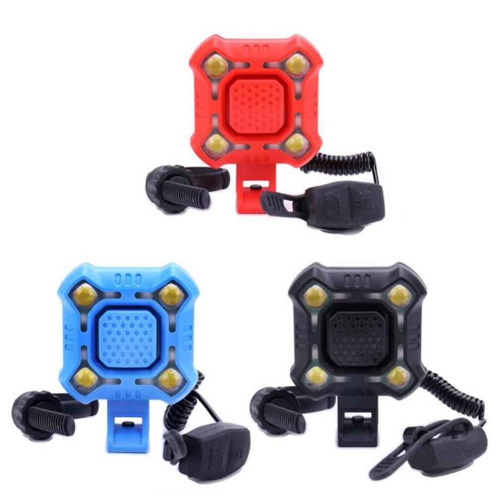 Велосипедный колокольчик, 4 лампы, Велосипедный свет, электрический рог, водонепроницаемый, зарядка через USB, Громкая сигнализация, безопасн...