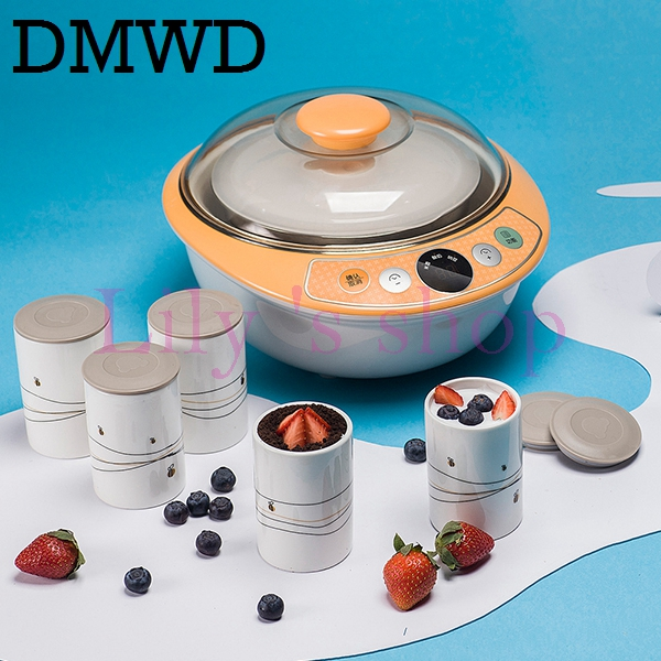 DMWD Automatic Electric Yogurt Maker Stainless Steel Liner Container DIY Leben machine wine Natto fermenter with 6 Ceramic cups hot selling electric yogurt machine stainless steel liner mini automatic yogurt maker 1l capacity 220v
