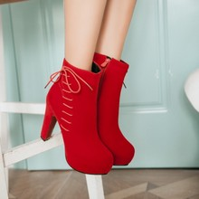2016 New Black Knee High Chunky Heeled Boots Platform Ladies Fashion Lace Up Shoes Womens Red