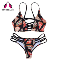 TOPMELON Bikini 2017 Bademode Frauen Mini Micro Bikini Druck Push Up Badeanzug Beachwear Badeanzug Sexy Mädchen Brasilianischen Biquini