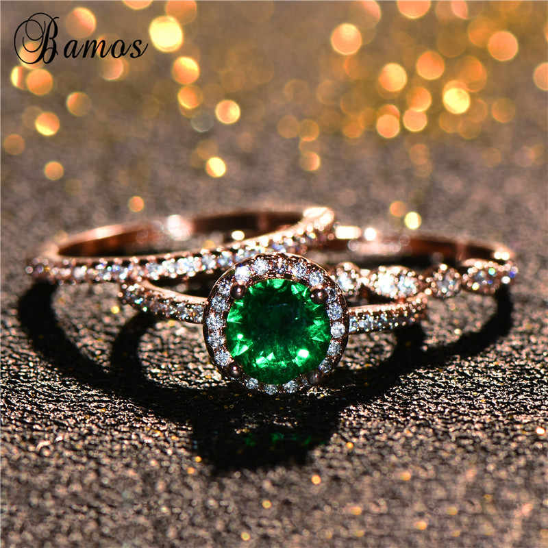 Luxo Requintado Feminino Anel de Zircão Verde Definir Delicada Empilhamento Anéis Para As Mulheres Cor de Rosa de Ouro Jóias Melhores Presentes de Casamento Promessa