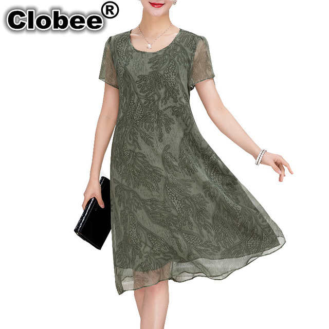 5bd0a4235b2 Clobee Women dress 2018 tops print short sleeve Mid-Calf summer dresses  vestido de festa plus size women plus size clothing Robe