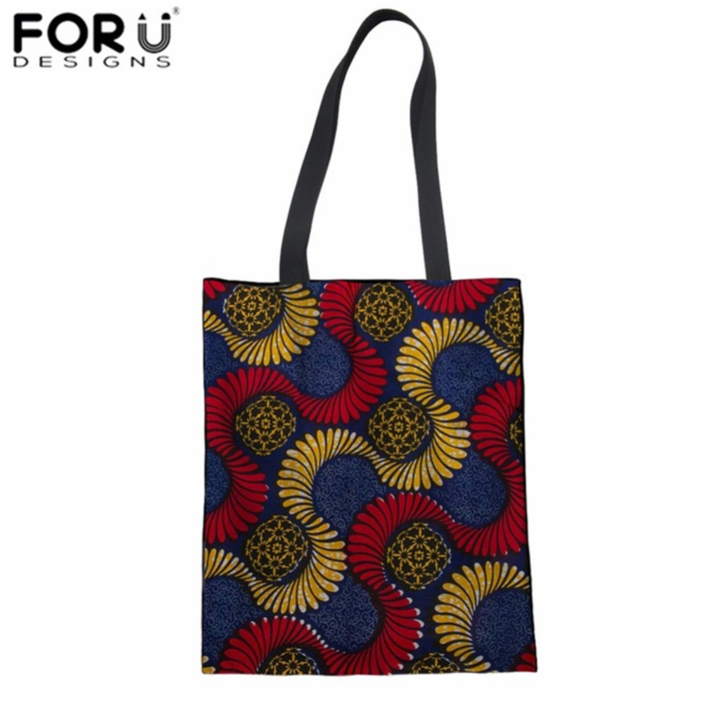 FORUDESIGNS Women Shopping Bag African Printing Linen Tote Bag Teenager Girls Daily Shoulder Bag Ladies Fashion Cloth Bag 2018