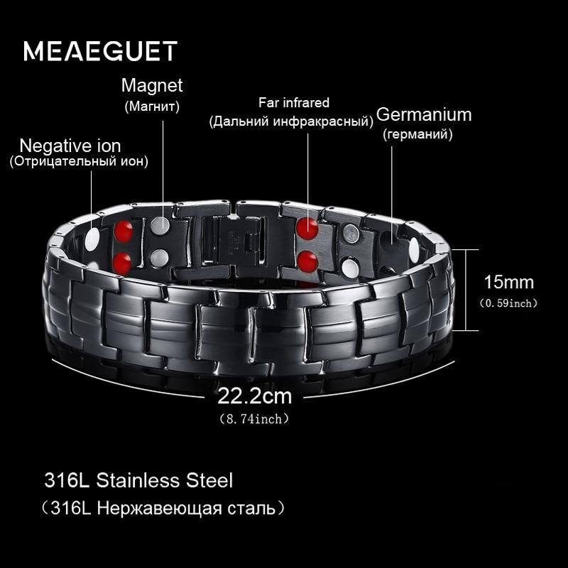 Meaeguet Tow Fila di 4 Elementi di Salute Braccialetto di Energia Dei Monili Per Gli Uomini Catena di Collegamento In Acciaio Inox Satinato Nero di Terapia del Magnete Braccialetti