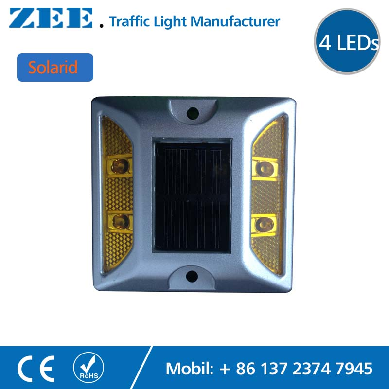 Solarid Solar Road Stud 4 LEDs Solar Powered Sign Built in Battery Reflective Yellow Amber Signal Die-cast Aluminum Road Stud goodbye yellow brick road cd