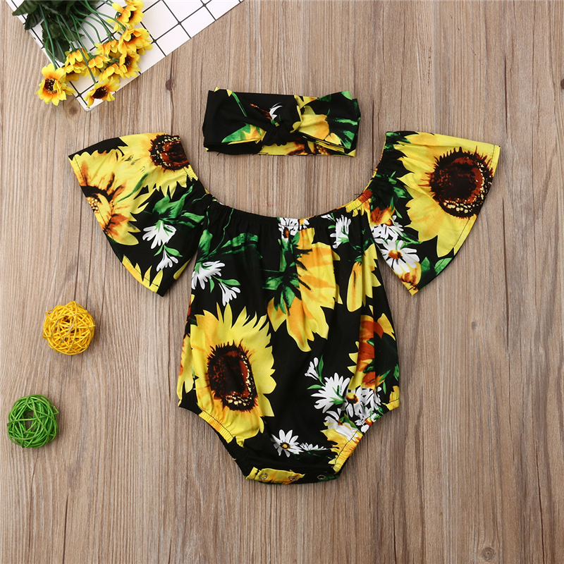 2019 Summer Off Shoulder Clothing Costume Cotton Sunsuit Outfit Headband Infant Toddler Newborn Baby Girls Sunflower Bodysuit