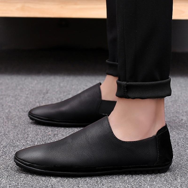 2019 été hommes chaussures en cuir respirant décontracté hommes chaussures plates hommes mocassins Zapatillas Hombre confortable doux conduite chaussures