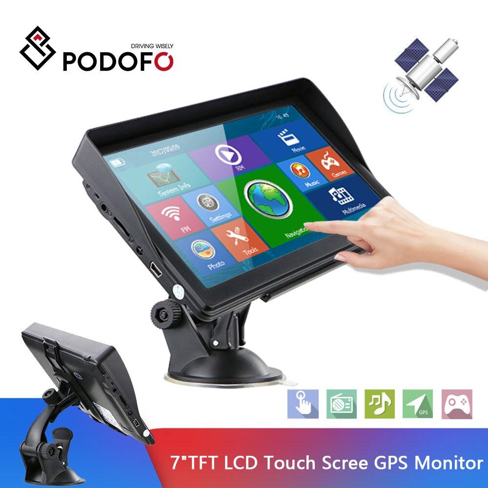 Podofo 7 ''écran tactile voitures Sat Nav GPS Navigation navigateur avec cartes gratuites construire 8GB ROM FM Radio MP3 MP4 véhicule Automobile