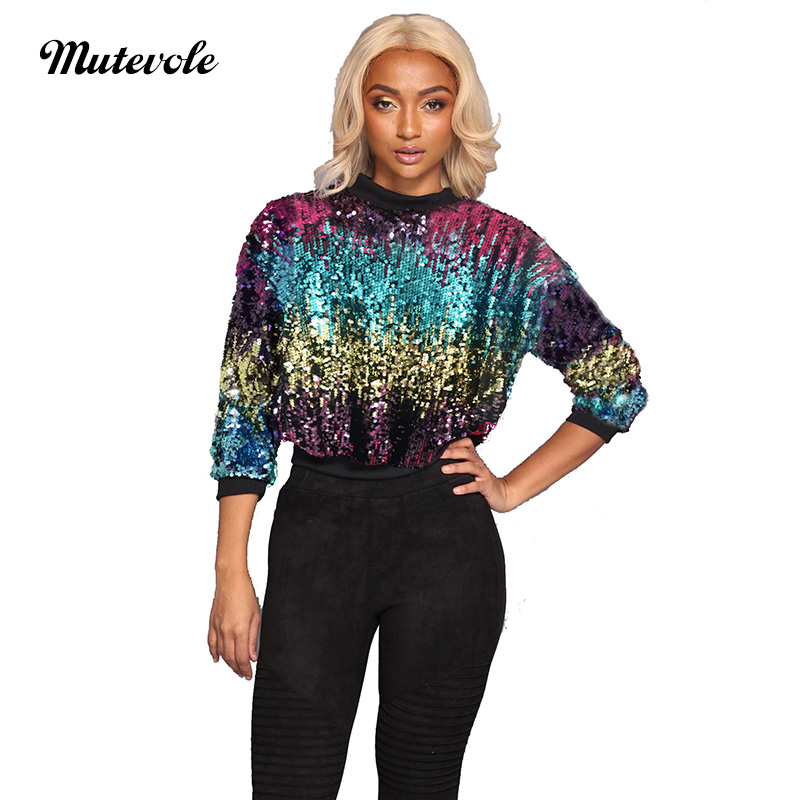 Mutevole Women Long Sleeve Sequin   Blouse     Shirt   Sexy O Neck Glitter Paillette Top   Shirt   Party Clubwear Shining Lentejuelas Top