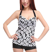 2017 Women's swimming suit  Sexy Floral Dots Beach Swimwear Halter Push Up Tank Tops Shorts Swimsuit