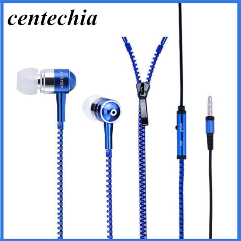 Earphone Wired Metal Zipper Wired Earphone 3.5mm In-Ear Ear Phones With Microphone Stereo Bass Earbuds For Phone MP3 MP4 Music original xiaomi mi hybrid earphone in ear 3 5mm earbuds piston pro with microphone wired control for samsung huawei p10 s8