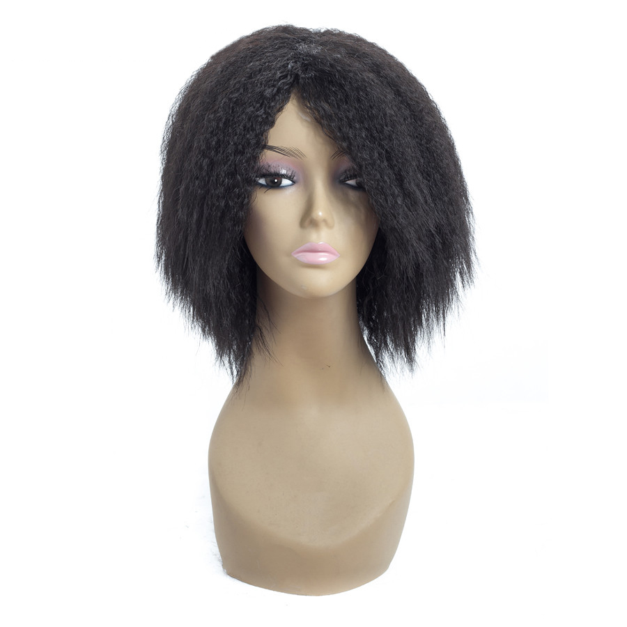 ELEGANT MUSES Yaki Straight Synthetic Wigs for Women Short Bob Wig Full Natural Black Heat Resistant Fiber African American