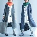 Más el Tamaño 5XL 6XL 2016 Otoño Invierno Europeo Moda Mujeres Larga A Rayas Señoras Trinchera Femenina Grandes Cardigans Loose Prendas de Abrigo