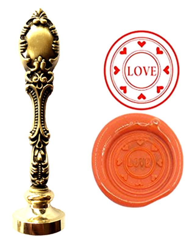 Custom Logo Luxury Vintage Wax Seal Stamps Kit Wedding Invitation Sealing Stamps  Gift (Love Heart) lace fower vintage wedding invitations laser cut blank paper pattern printing invitation card kit ribbons decorations