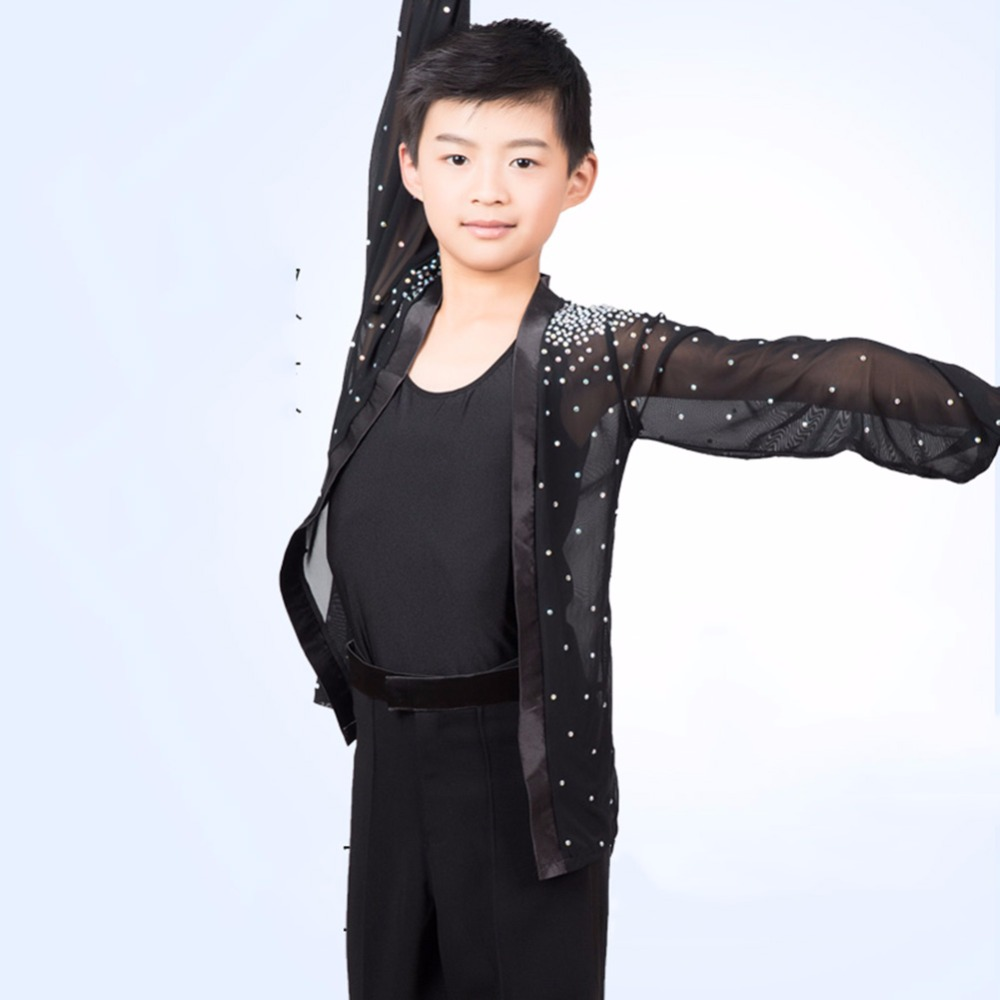 New Arrival Latin Dance Shirt For Children Black Blue Red White Fringe Tops Male Boy Rehearsal Competitive Tango Clothes Q2059
