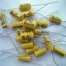 Wholesale 200pcs long leads yellow Axial Polyester Film Capacitors electronics 0.022uF 630V fr tube amp audio free shipping