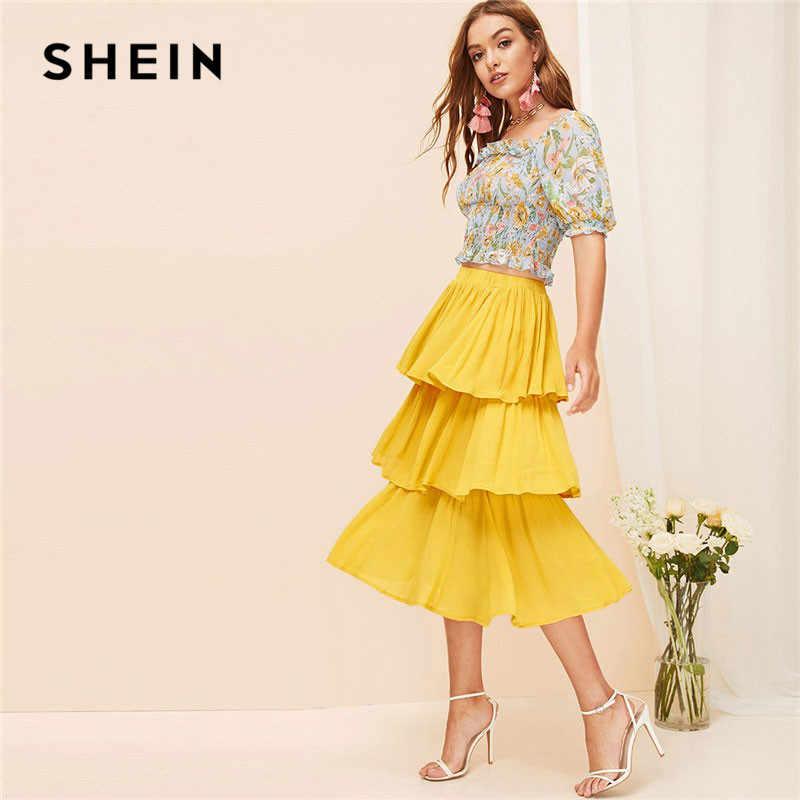 12bd2d1d3490 SHEIN Yellow Summer Beach Boho Tiered Layer Skirt Women Solid Casual Ruffle  Hem Flared A Line