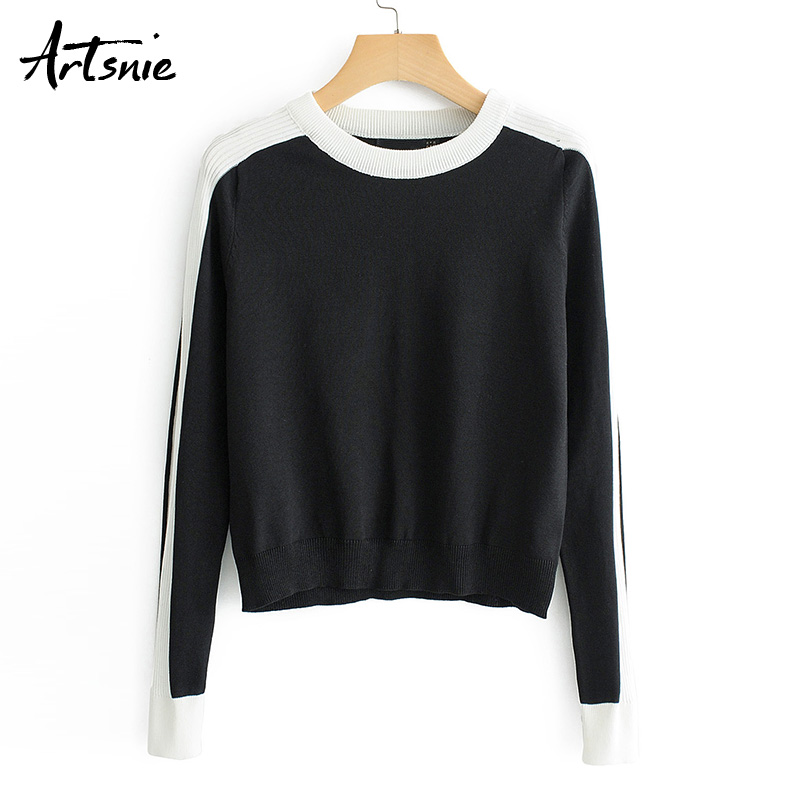 Artsnie Spring 2019 Black Casual Patchwork Sweater Women O Neck Long Sleeve Knitted Pullover Winter Girls Pull Femme Slim Jumper