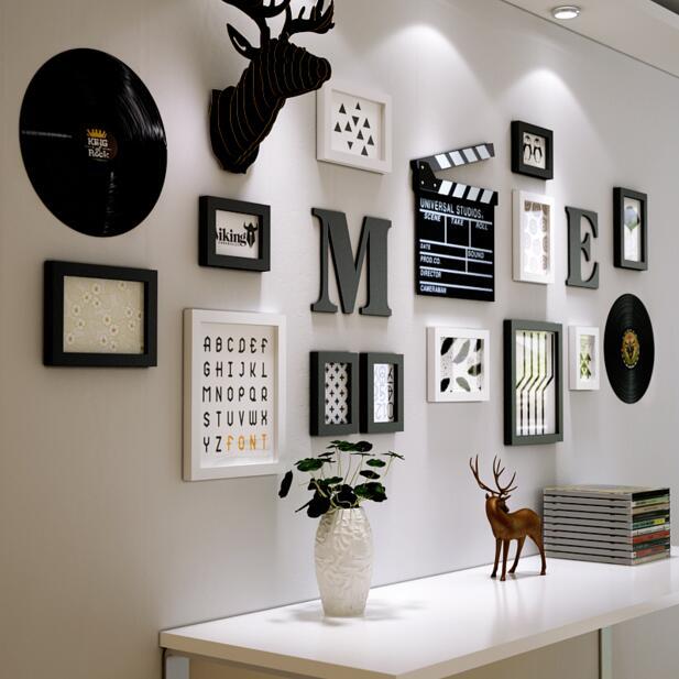 Da Parete europea Ornamenti Ciondolo soggiorno Attaccatura di Parete pittura creativa disco in vinile ornamenti di testa di cervo autoadesivi della parete in set