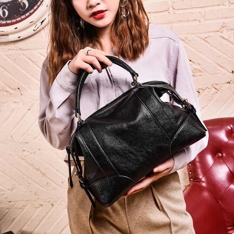 High Quality 100% Genuine Leather Women's Handbags Vintage Shoulder CrossBody Bags For Women Leather Top HandleTote Bags Women-in Top-Handle Bags from Luggage & Bags    3