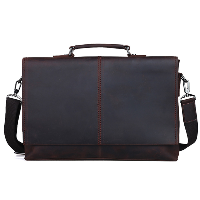 Excelent Genuine Leather Vintage Cowhide Men Briefcase Tote Business Handbag Shoulder Bag Fit For 13 inch Laptop PR091079 modern minimalist personality creative iron chandelier restaurant cafe bar restaurant bar single industrial wind chandelier led