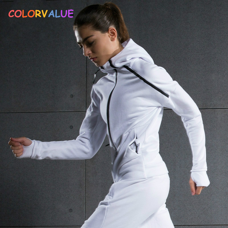 все цены на Colorvalue Winter Double Zipper Running Jacket Women Hooded Fitness Coat Long Sleeve Sport Yoga Coat with Pocket and Thumb Holes