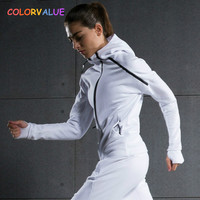 Colorvalue Winter Double Zipper Running Jacket Women Hooded Fitness Coat Long Sleeve Sport Yoga Coat with Pocket and Thumb Holes