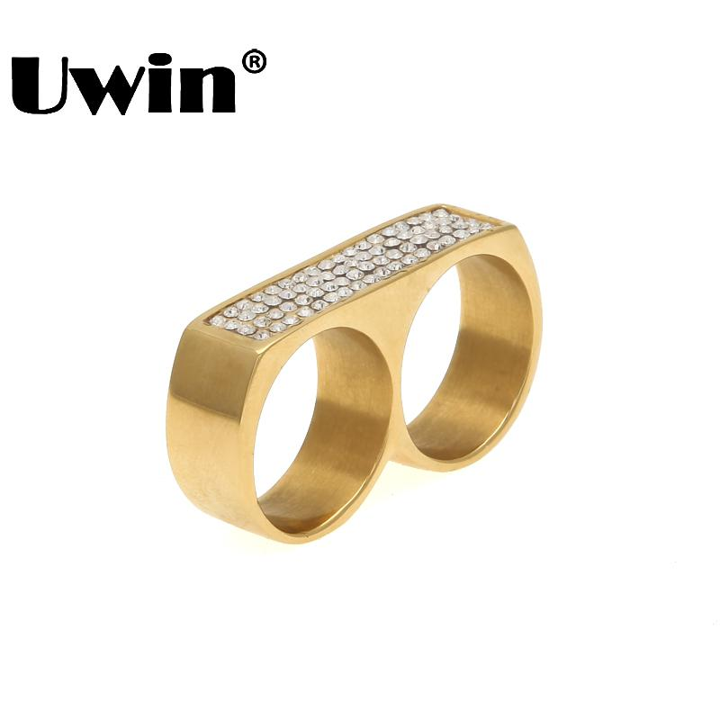 Uwin New Cool Two Finger Rings Hip Hop Full Iced Out Rhinestones Stainless Steel Gold Silver Color Men Punk Party Ring Size 9/10 punk style solid color hollow out ring for women